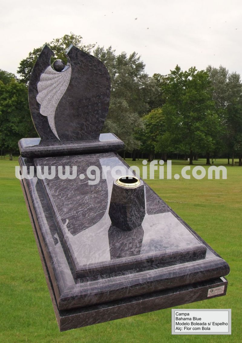 Monument in Granite -  Round Model with Flower with Ball Headstone  | Granifil - Mármores e Granitos