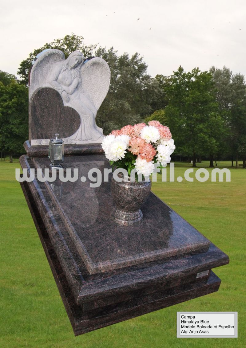 Monument in Granite - Round Model with Angel Wings Headstone  | Granifil - Mármores e Granitos